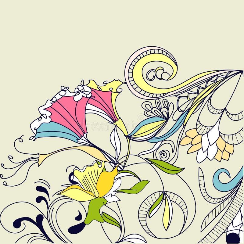 设计要素花卉葡萄酒 皇族释放例证