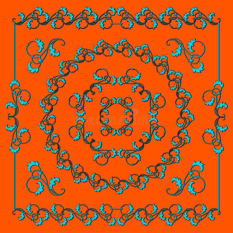设计要素花卉集 蓝色卷毛和叶子在橙色背景 向量例证