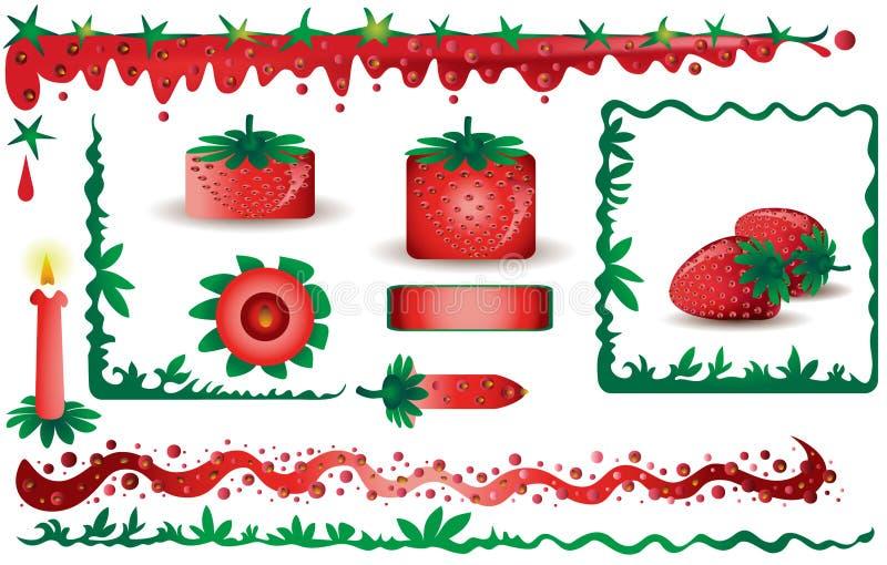 设计要素草莓 皇族释放例证