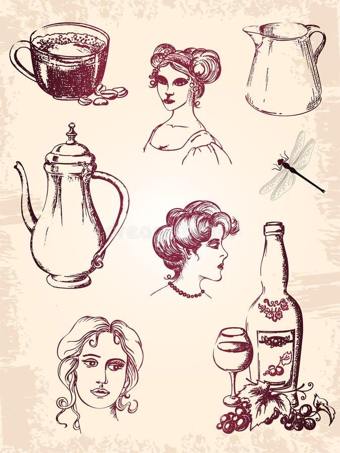 设计要素葡萄酒 皇族释放例证