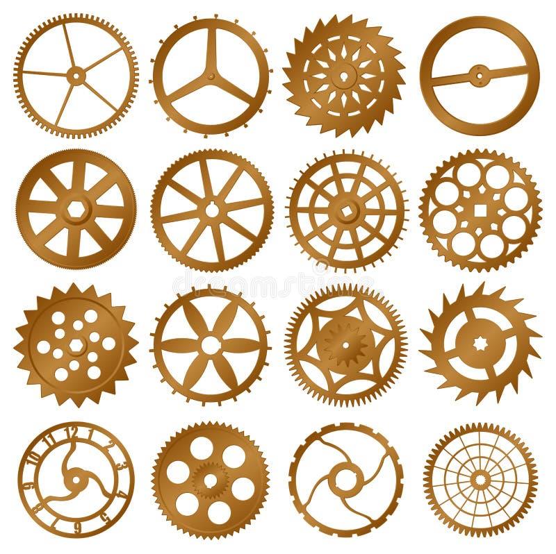 设计要素齿轮设置了向量手表 皇族释放例证