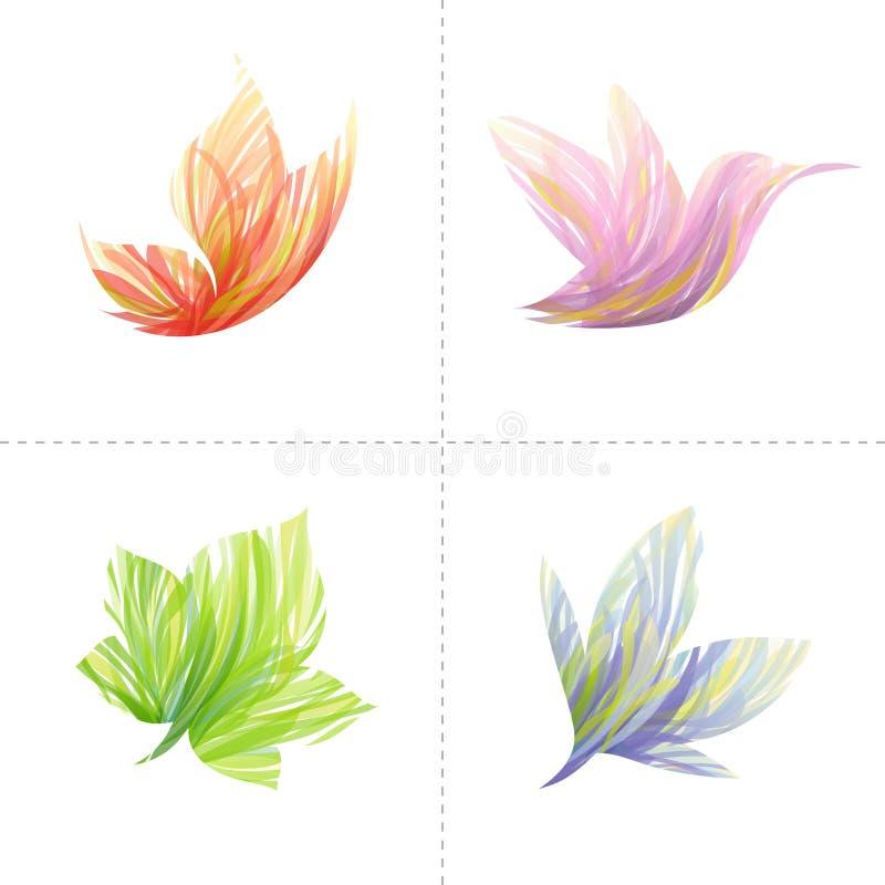 设计要素: 蝴蝶,蜂鸟,叶子, flo 库存例证