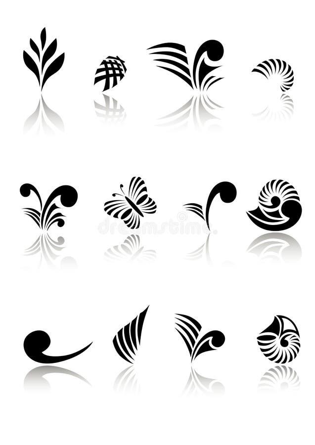设计要素koru毛利人集 库存例证