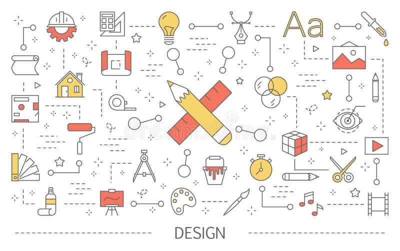 设计观念例证 创造性思为和计算机科技 向量例证