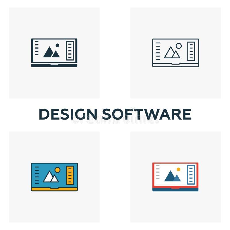 设计软件图标集 设计ui和ux图标集合中不同样式的四个元素 创意设计软件图标 皇族释放例证