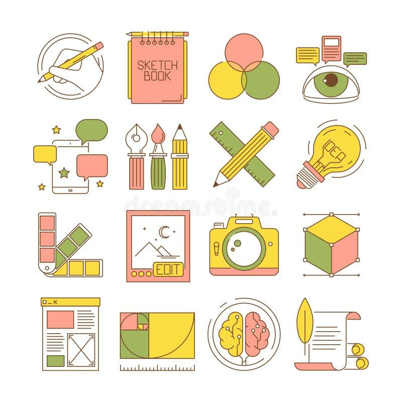 设计过程象 包装的艺术创造性的写博克网的产品和服务的修饰固定式传染媒介平的图片 库存例证