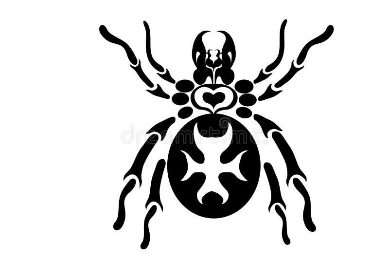 设计部族蜘蛛的纹身花刺.图片