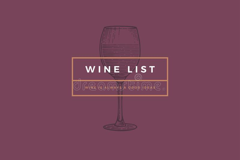 设计酒卡片、传单、菜单、餐馆或者酒吧的商标模板 皇族释放例证