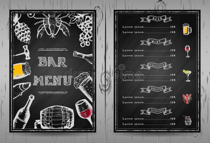 设计酒吧菜单,模板餐馆菜单 免版税库存图片