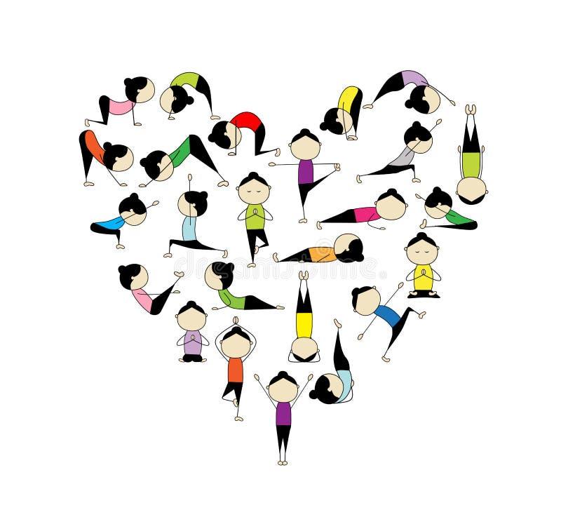 设计重点我爱您形状的瑜伽 向量例证