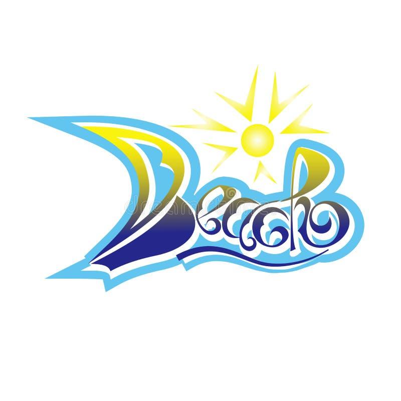 设计项目的题字海滩手拉的字法 冲浪 海浪商标或象征设计 海滩商标 库存例证