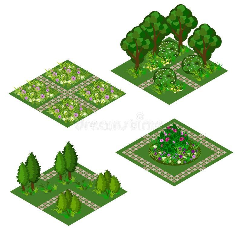 设计风景的庭院等量财产在比赛或动画片 皇族释放例证
