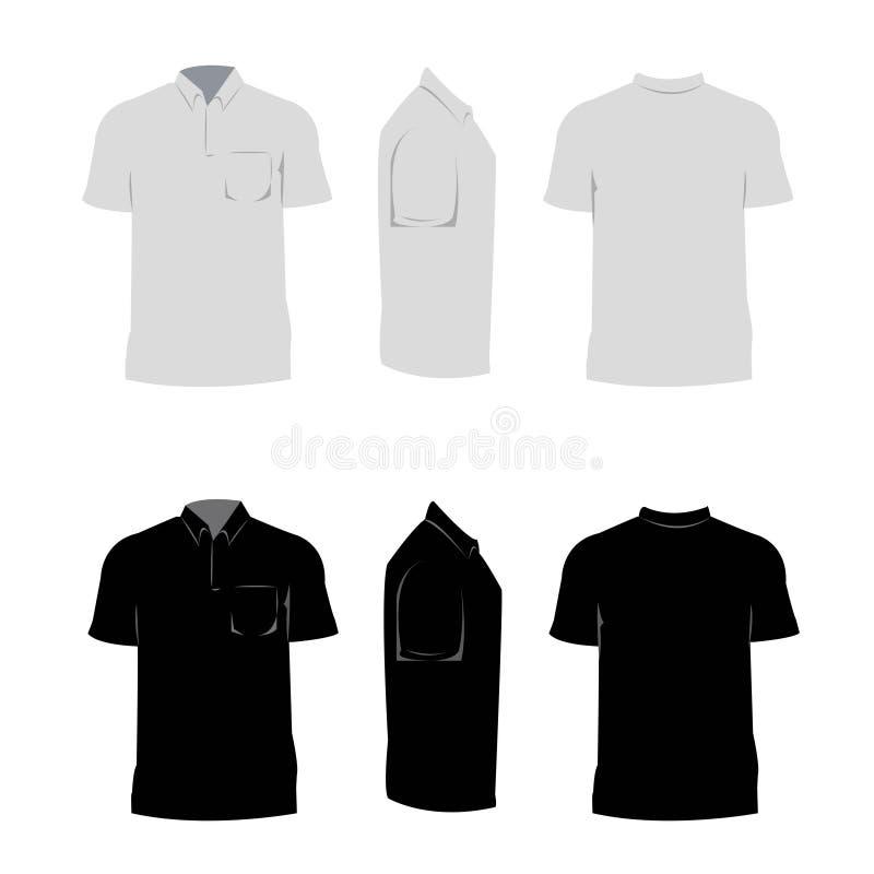 设计黑色和灰色颜色的人衬衣有白色背景 库存例证