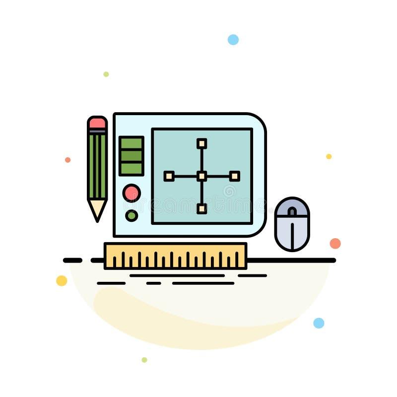 设计,图表,工具,软件,网络设计平的颜色象传染媒介 库存例证