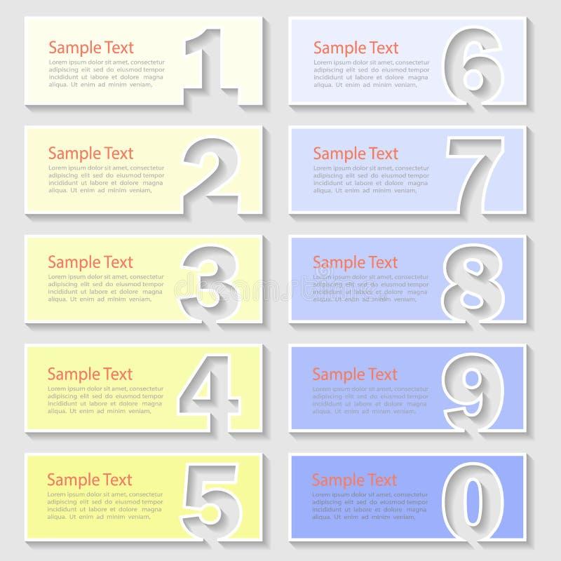 设计10数字Infographic 传染媒介例证可以为布局,工作流,图使用 库存例证