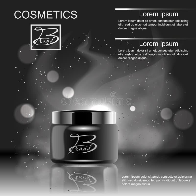 设计给的化妆用品在黑背景的产品做广告 模板,空白,您的设计的 皇族释放例证