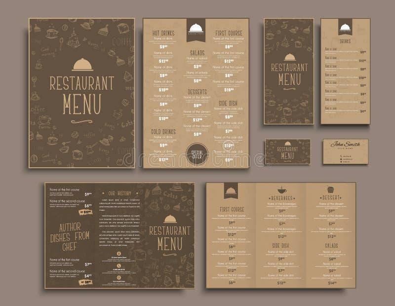 设计A4菜单,减速火箭的折叠的小册子,餐馆的飞行物 向量例证