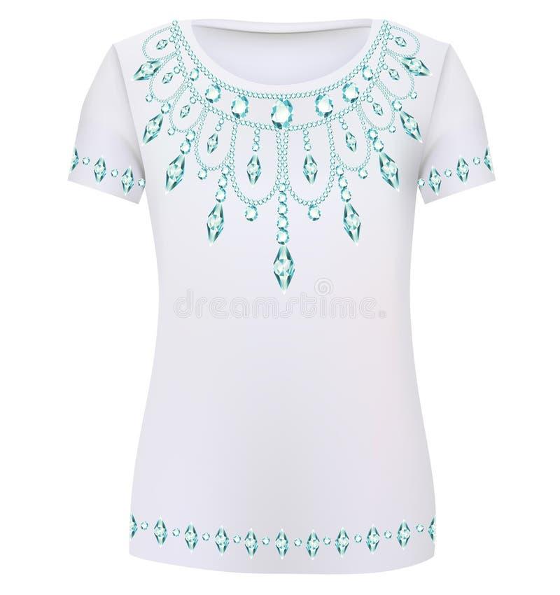 设计T恤杉 打印妇女的fashio的一件时兴的装饰品 皇族释放例证