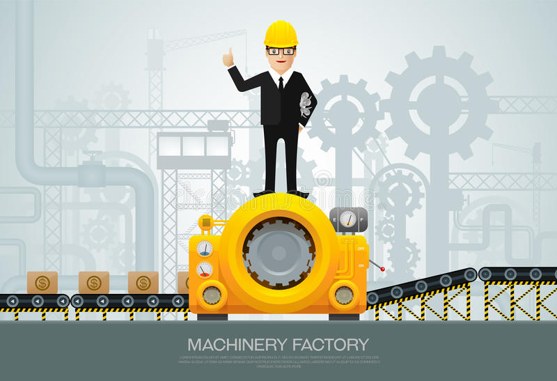 设计ve的工业机器厂建筑器材 皇族释放例证