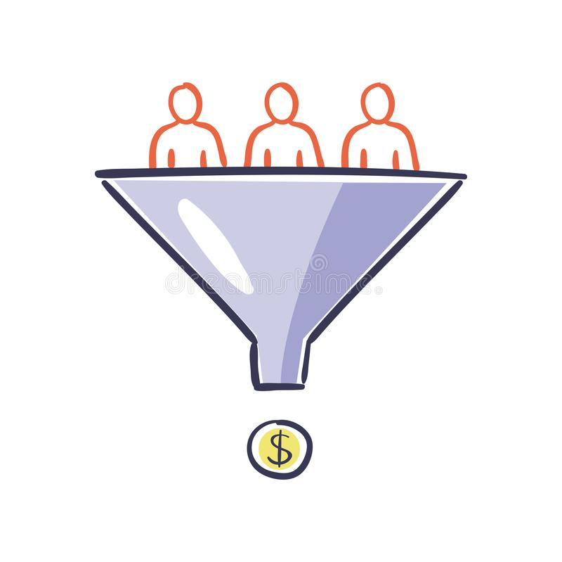 访客进入销售漏斗 互联网营销转换概念 兑换率优化-传染媒介 库存例证