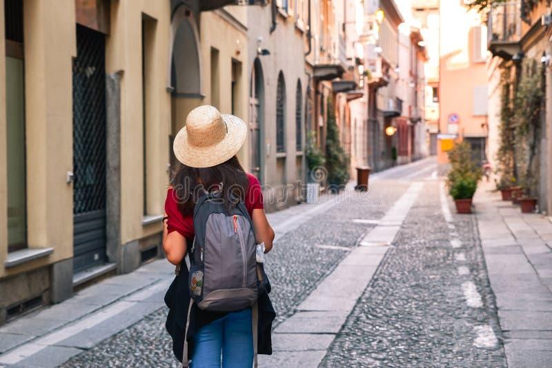 访问意大利的女孩 免版税库存照片
