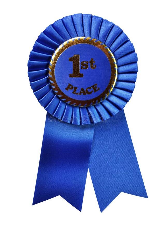 证书蓝色裁减路线丝带 免版税图库摄影