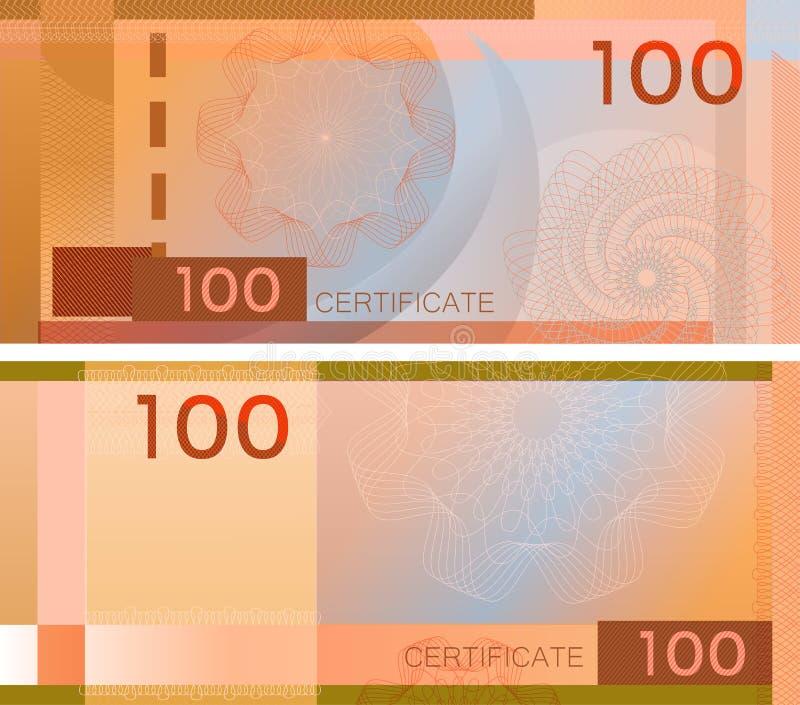 证件与扭索状装饰样式水印和边界的模板钞票100 橙色背景钞票,礼券,优惠券, 向量例证