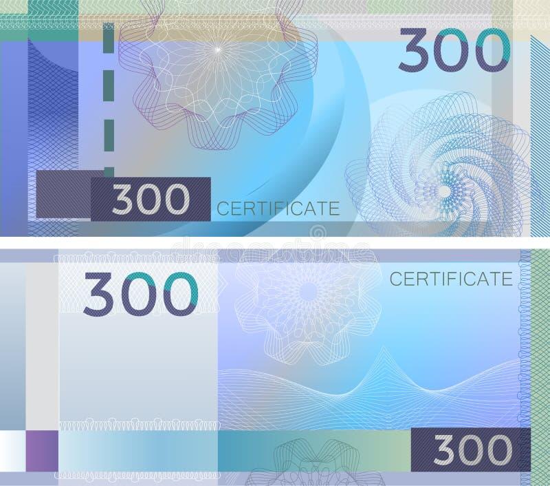 证件与扭索状装饰样式水印和边界的模板钞票300 蓝色背景钞票,礼券,优惠券, 皇族释放例证