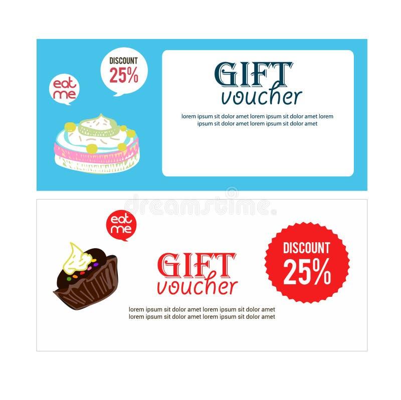 证件礼物餐馆或食物网站的,优惠券,证件,招贴横幅例证 平的设计海报,优惠券礼物,卡片, 库存照片