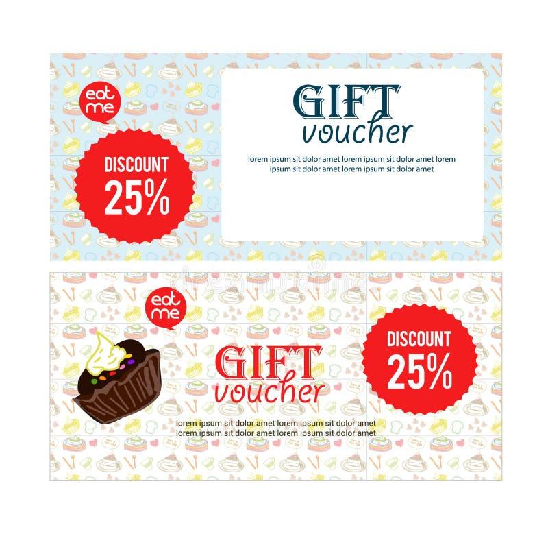 证件礼物餐馆或食物网站的,优惠券,证件,招贴横幅例证 平的设计海报,优惠券礼物,卡片, 库存图片