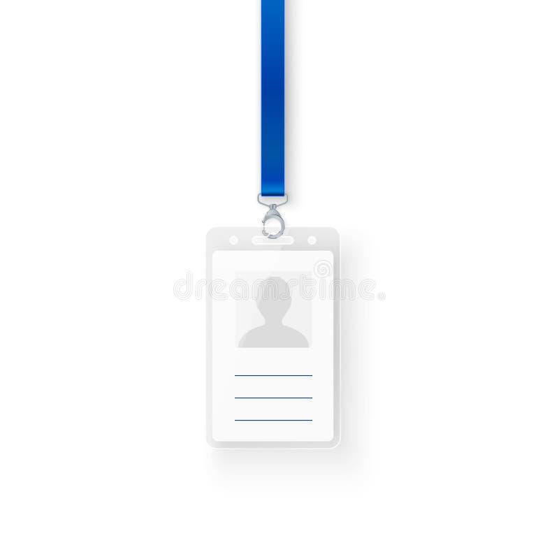 证明个人塑料id卡片 ID与钩子和短绳的徽章设计空的模板  向量 向量例证