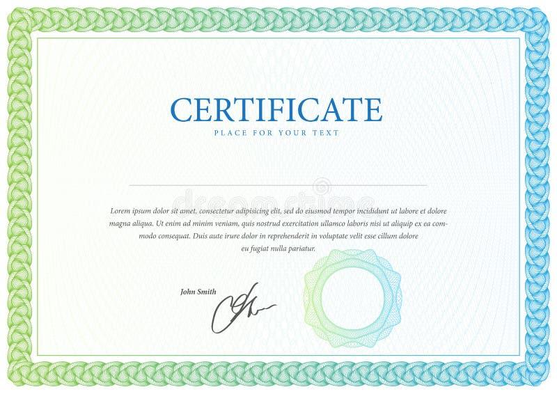 证明和文凭模板 向量 向量例证