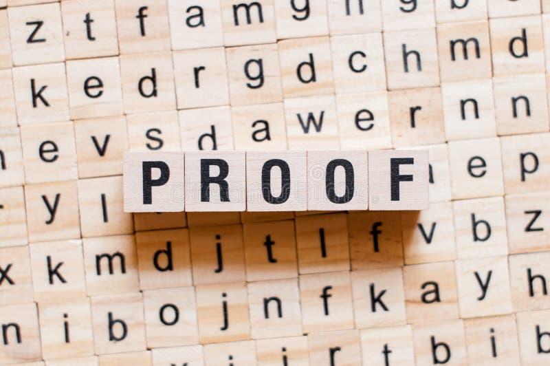 证明词概念 库存照片