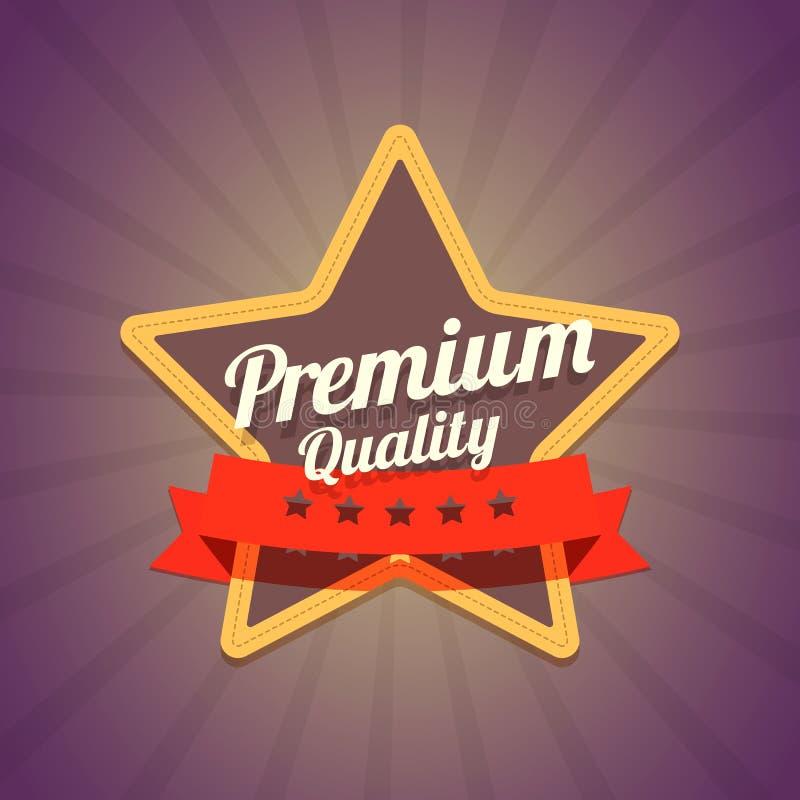 证章与星和优质质量标签在黑暗 向量例证