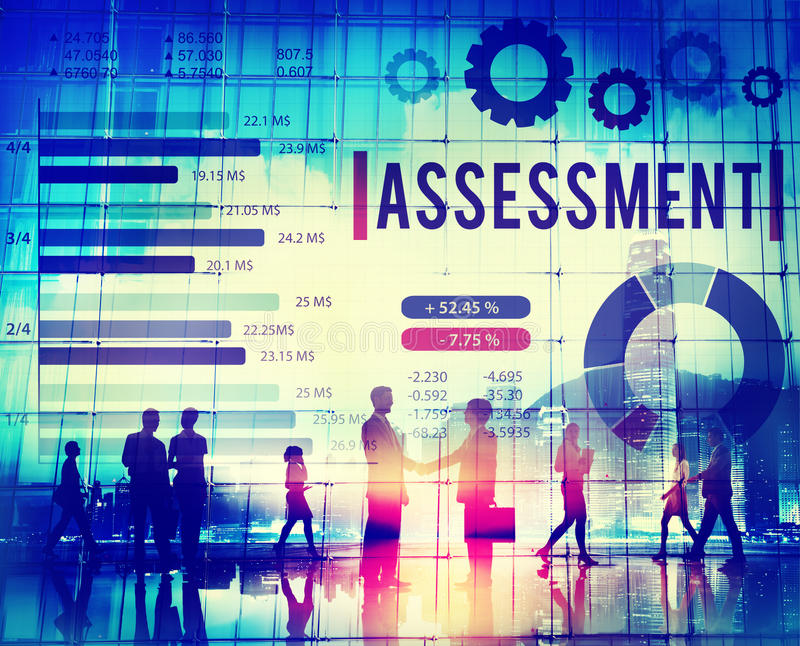 评估评估措施检验回顾概念 免版税图库摄影