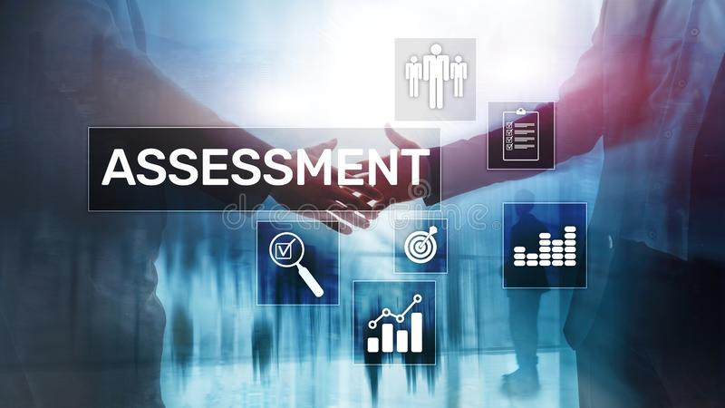 评估评估措施逻辑分析方法分析在被弄脏的背景的企业和技术概念 免版税库存图片