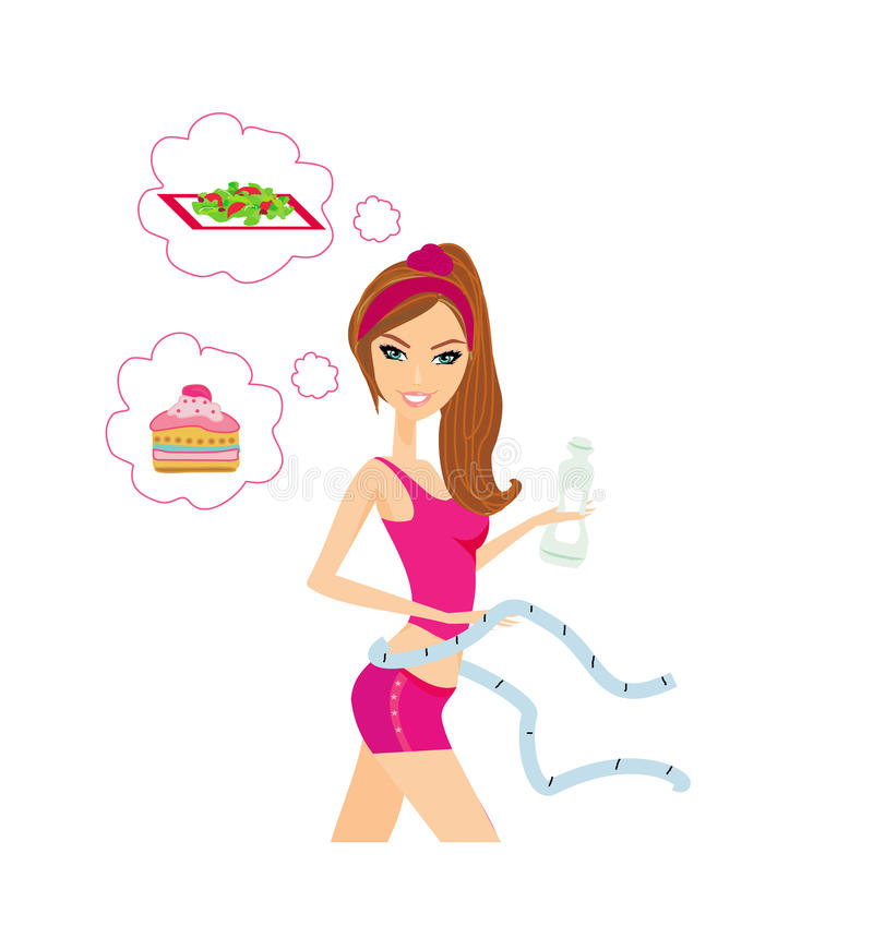 评定她的腰部的健康女孩 向量例证