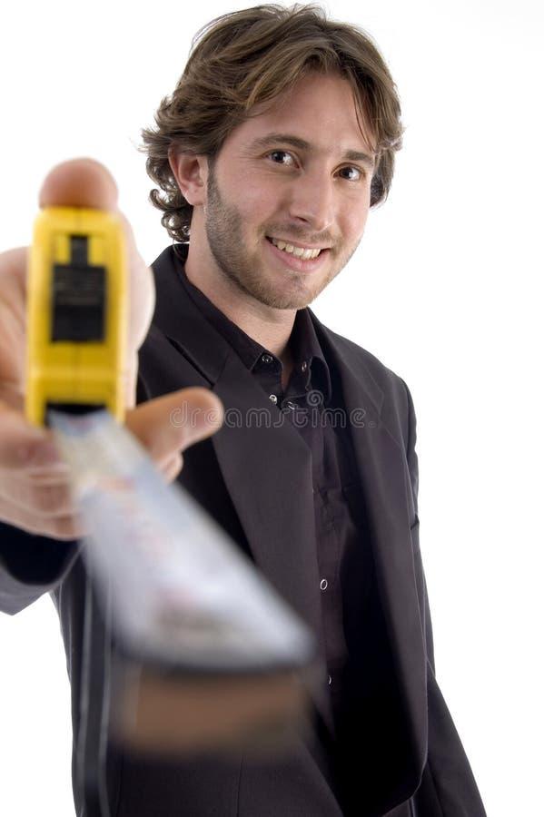 评定的男显示磁带 免版税图库摄影