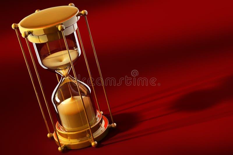 评定老沙子时间的时钟金子 库存例证