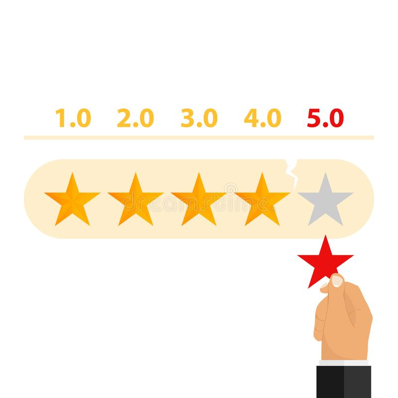 评级 手去除规定值星 向量例证