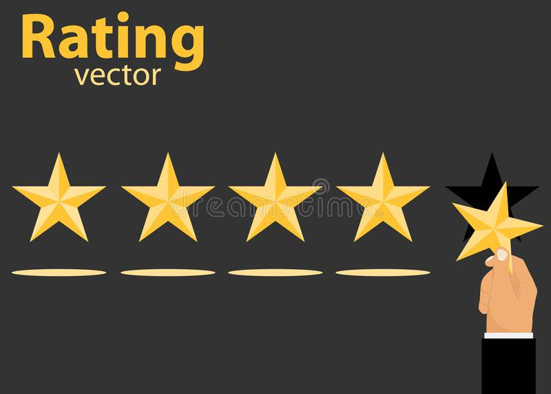 评级 陈列规定值 有星的一只手投入规定值 库存例证