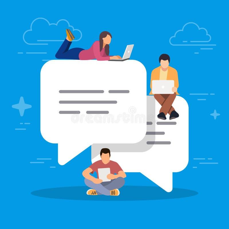 评论和回复的讲话泡影 使用流动智能手机的青年人为发短信和离开在社交评论 向量例证
