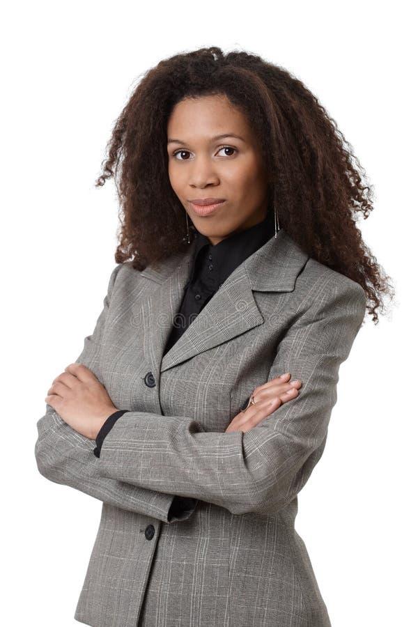 诉讼的确信的非洲的女实业家 库存照片