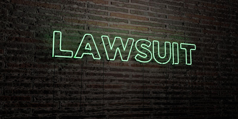 诉讼-在砖墙背景的现实霓虹灯广告- 3D回报了皇族自由储蓄图象 皇族释放例证