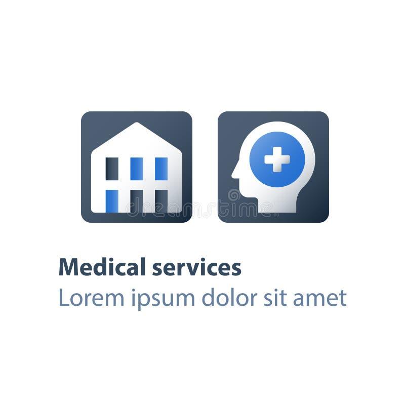 诊所、康复计划、脑子诊断、固定式疗法、精神错乱、精神病学或者精神疗法 库存例证