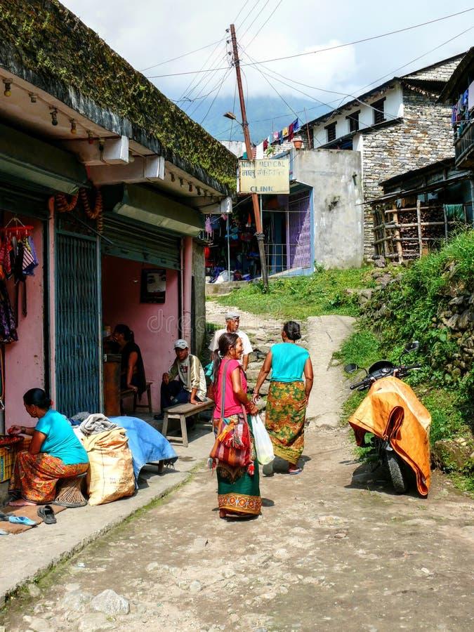 诊所在Khudi, Besisahar (尼泊尔) 免版税库存照片