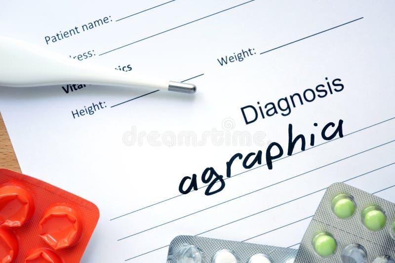 诊断失写症和片剂 库存图片