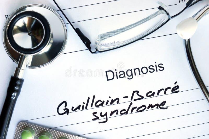 诊断Guillain纬向条花综合症状和听诊器 免版税库存照片