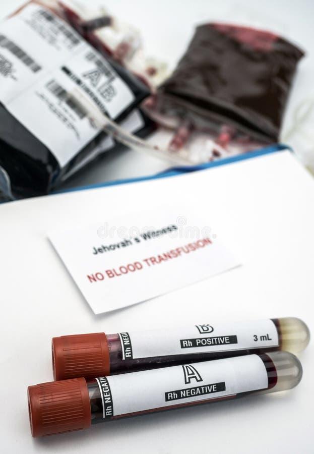 诊断jehova,输血否认,概念性图象的概念形式证人  免版税库存照片