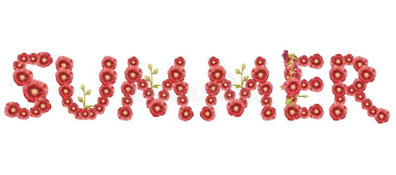 词'夏天' 在白色背景的红色题字 皇族释放例证